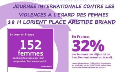 Journée internationale pour l'élimination de la violence à l'égard des femmes – 25 novembre 2020